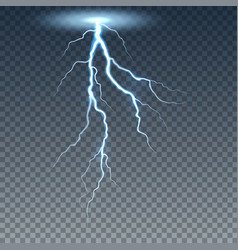 Realistic lightning and thunder bolt vector