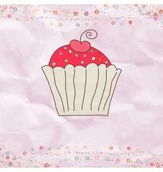 Retro Valentines Cupcake Card vector image