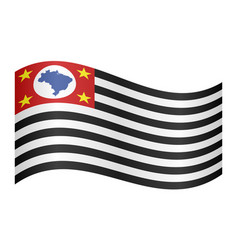 Sao paulo brazil state flag waving white backdrop vector
