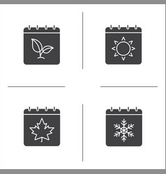 Seasons calendar glyph icons set vector