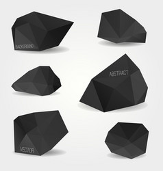set abstract black modern crystal shapes can vector image