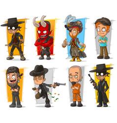 set cartoon bad guys characters vector image