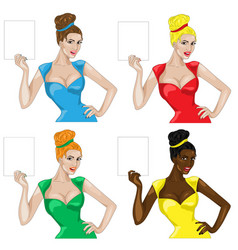 Set girls holding a sign in retro style vector