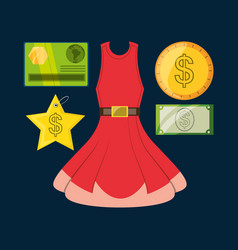set icon dress credit card and cash money shopping vector image