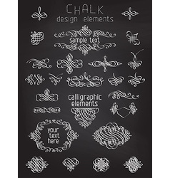 set of chalk calligraphic design elements vector image