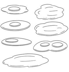 set of fried egg vector image