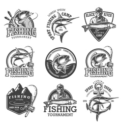 Set of vintage fishing emblems vector