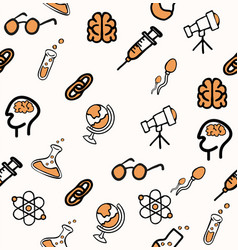 Set science doddle seamless pattern vector