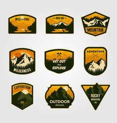 set vintage mountain outdoor adventure logo vector image
