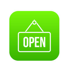 sign open icon digital green vector image