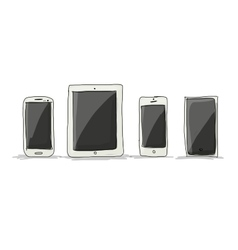 Smartphone set sketch for your design vector