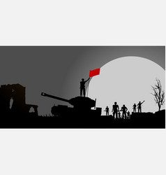 Soldiers and tank and red flag silhouette panel vector