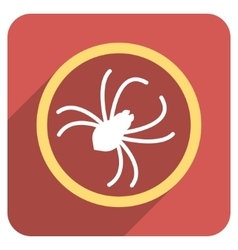 Spider Flat Rounded Square Icon with Long Shadow vector