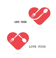 Spoon and fork logo with red heart shape vector image