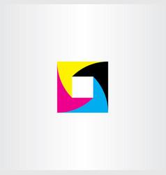 square cmyc printing logo symbol element vector image