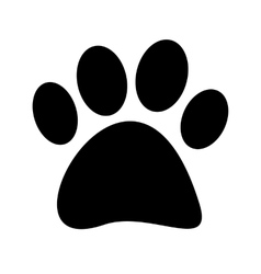 Stock Black paw print tetradigitate on a vector image