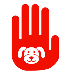 Stop hand puppy flat icon vector