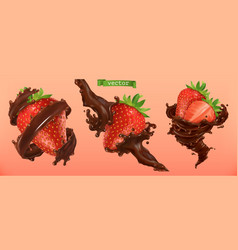 strawberry and chocolate splashes 3d realistic vector image