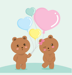 Sweet bears couple valentine green vector