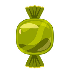 Sweet candy in green wrap icon cartoon style vector
