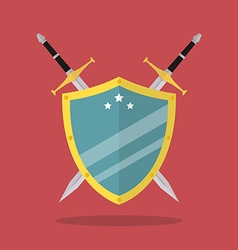 Swords and shield flat style vector