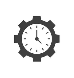 time management black icon on white background vector image