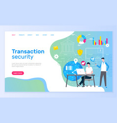 Transaction security people bank workers laptops vector
