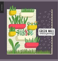 Urban farming and gardening - vertical farming vector