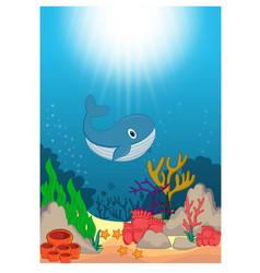 Whale in beautiful underwater world cartoon vector
