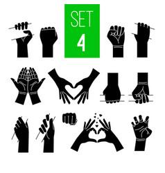 Woman hands showing gestures black vector