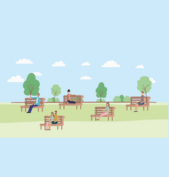 young people sitting on park chair vector image