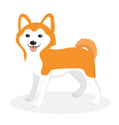 akita inu breed dog icon flat cartoon style vector image vector image