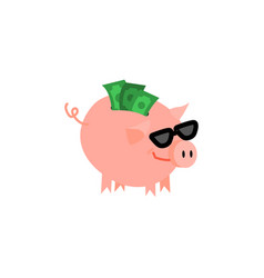 cartoon piggy bank with happy face vector image