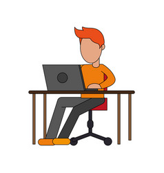 color image cartoon faceless man sitting in desk vector image vector image
