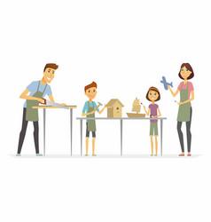 family making handicrafts - cartoon people vector image vector image