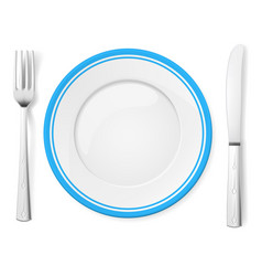 dinner plate knife and fork on white background vector image vector image