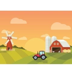 Farm with a mill and tractor in the green hills vector image vector image
