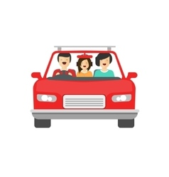 Happy family inside car driving vector image vector image