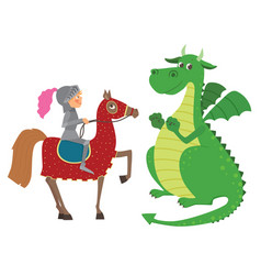 knight on horseback and dragon vector image vector image