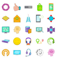 mobile connection icons set cartoon style vector image