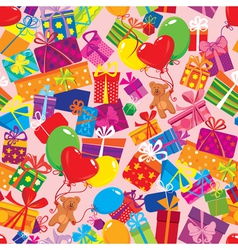 Seamless pattern with colorful gift boxes present vector image vector image
