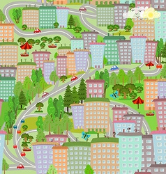 seamless texture with cityscape summer vector image vector image
