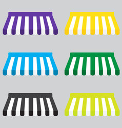 Awning color striped set for store element design vector image vector image