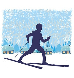 boy rides on skis in winter day vector image