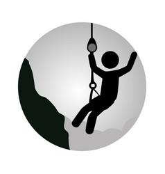 circular frame with man climbing a rope vector image vector image