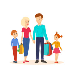 family goes along with joint purchases at mall vector image vector image