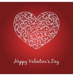 Happy Valentines Day card with heart and text vector image