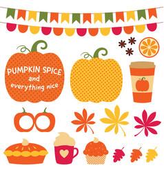 pumpkin spice clip art set vector image vector image