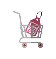 shopping cart online price tag color shadow vector image vector image