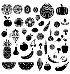 Silhouette of fruits and vegetables vector image vector image
